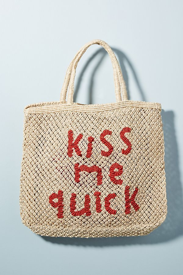 Slide View: 2: Kiss Me Quick Straw Tote Bag