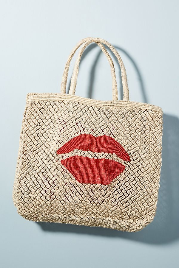 Slide View: 1: Kiss Me Quick Straw Tote Bag