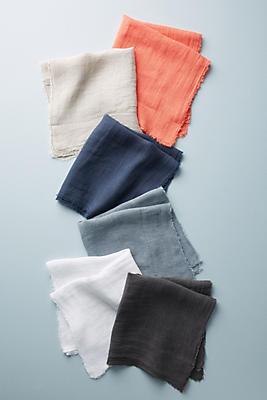 Slide View: 2: Frayed Linen Napkin Set