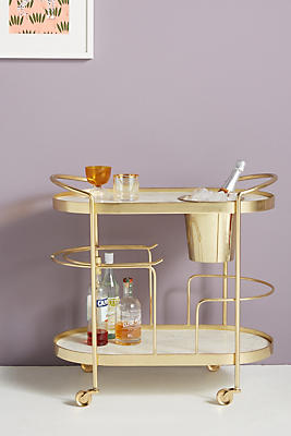Slide View: 1: Marble-Top Brass Bar Cart