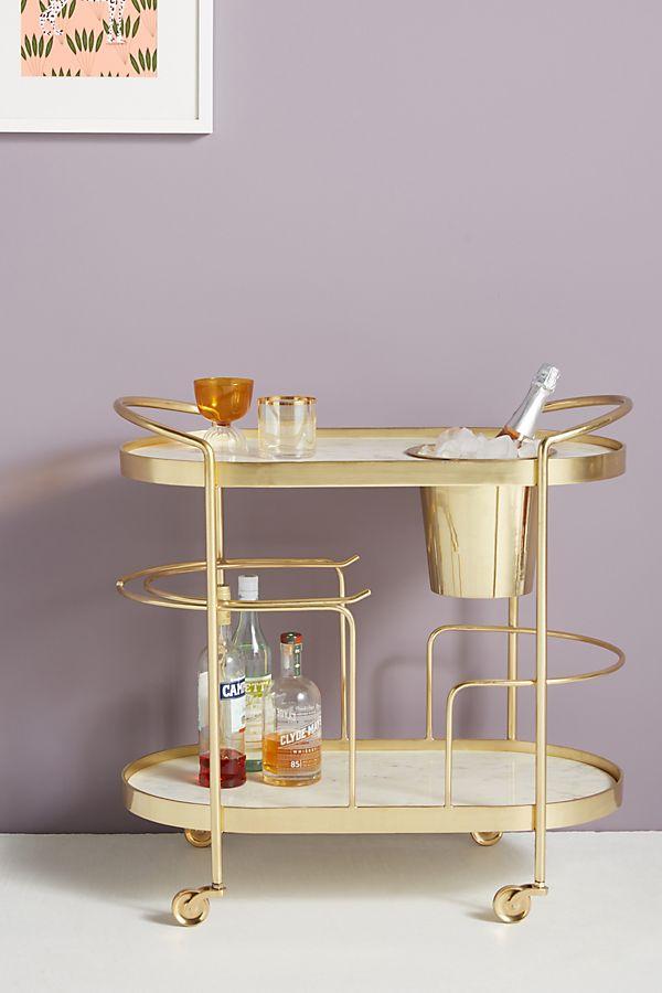 Slide View: 1: Marble-Top Brass Bar Cart
