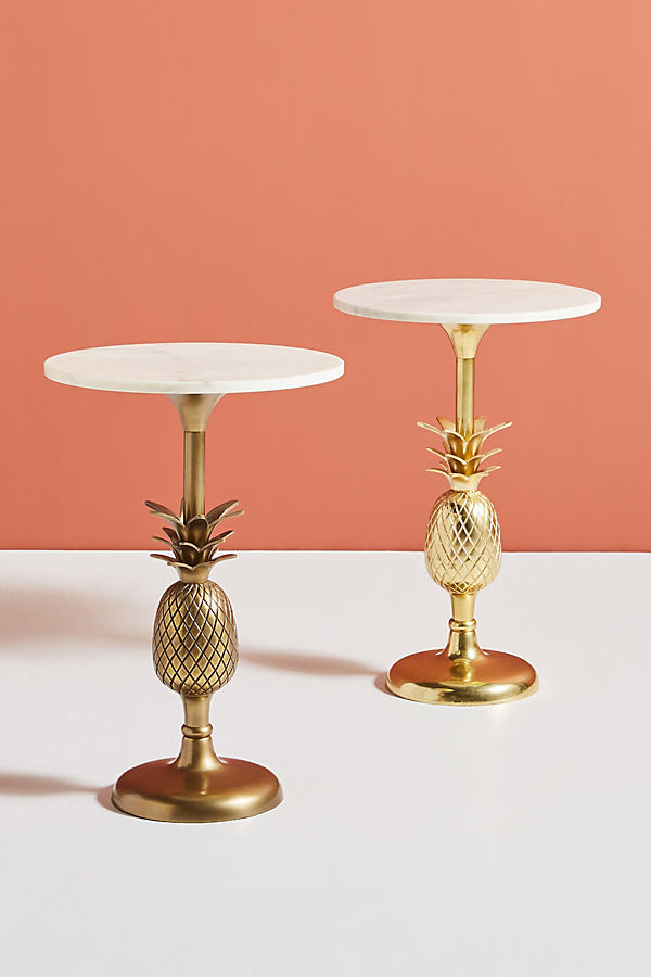 Pineapple Pedestal Side Table - Gold