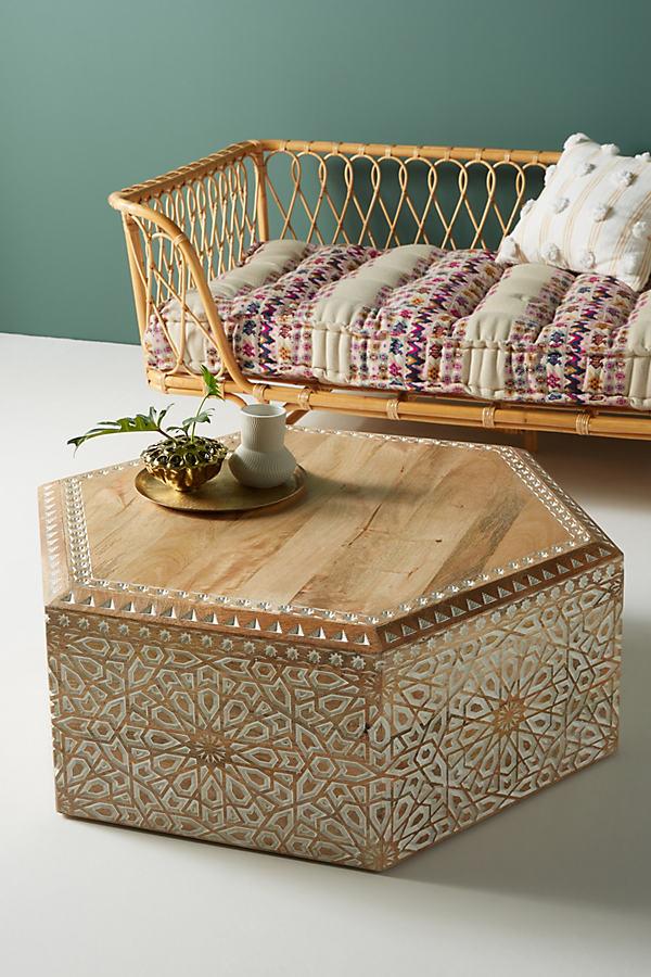 Handcarved Hexagonal Coffee Table - Beige