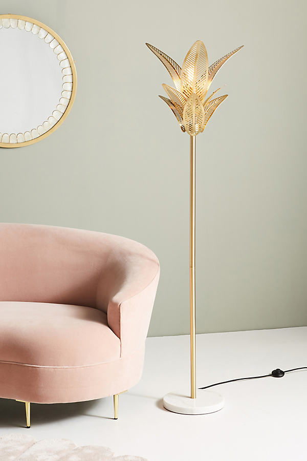 Palm Frond Floor Lamp - Gold