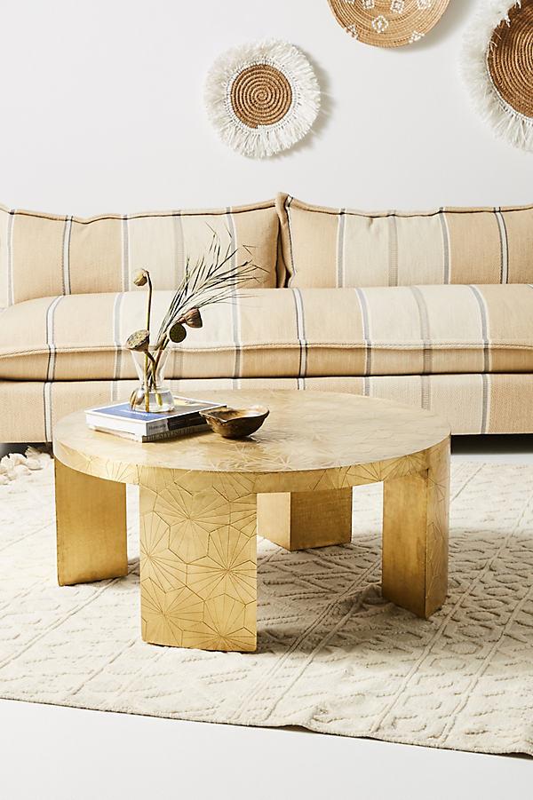 Floral-Embossed Coffee Table - Brown