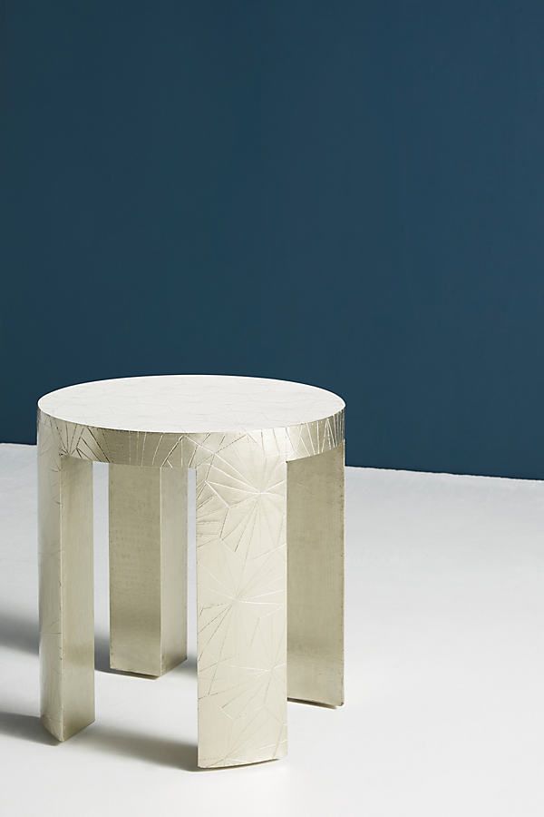 Floral-Embossed Side Table - Silver