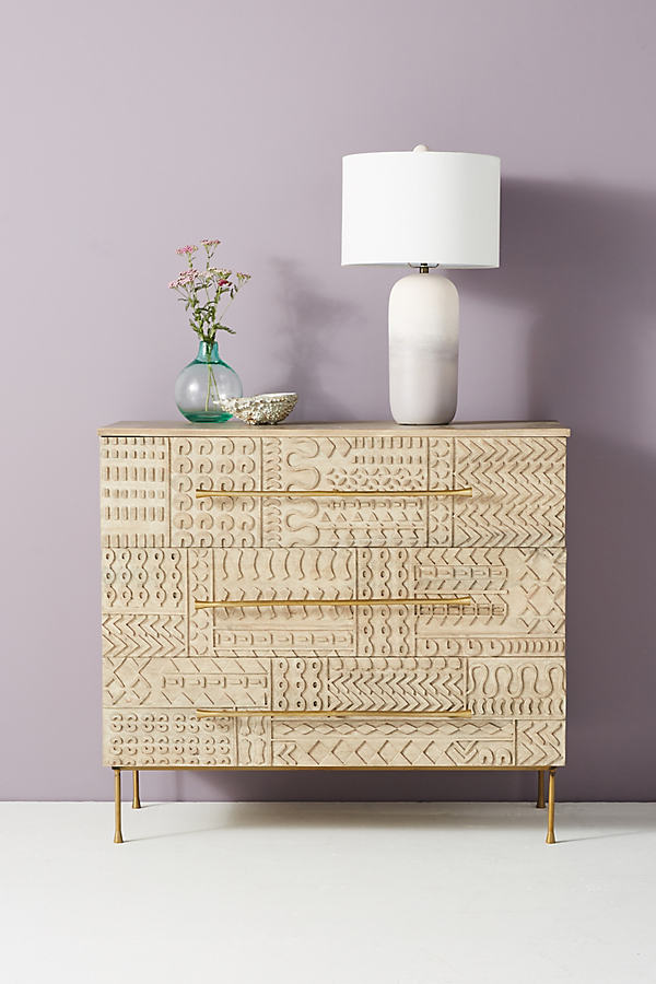 Carved-Patchwork Three-Drawer Dresser - Beige