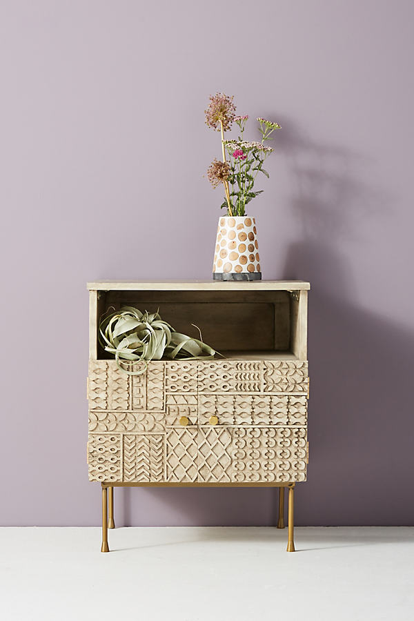 Carved-Patchwork Bedside Table - Beige