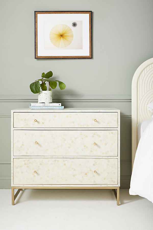 Star Inlay Three-Drawer Dresser - White