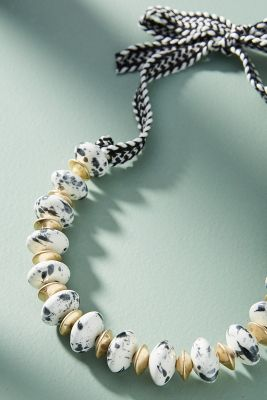 Amalia Tie Necklace  -    BLACK & WHITE