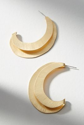 Folded Crescent Hoop Earrings by Anthropologie