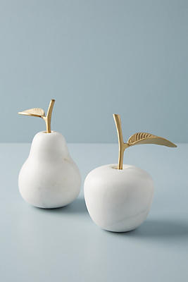 Slide View: 5: Marble Fruit Decorative Object