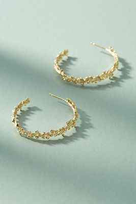 Floral Lattice Hoop Earrings by Anthropologie