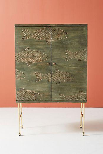 Handcarved Streamlet Bar Cabinet
