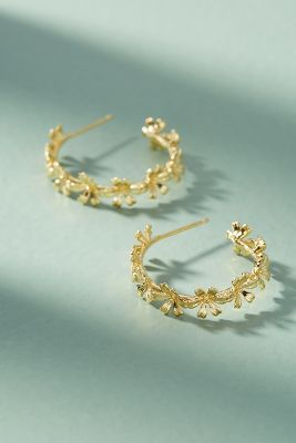 Chain Of Flowers Hoop Earrings by Anthropologie
