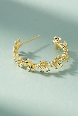 Anthropologie Chain of Flowers Hoop Earrings SBwWRu