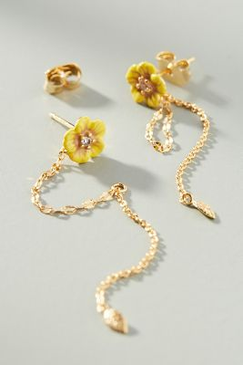 Floral Chained Front Back Earrings by Anthropologie