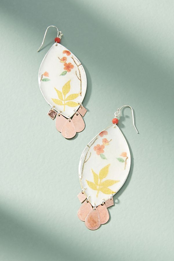 Slide View: 1: Painted Gardens Drop Earrings