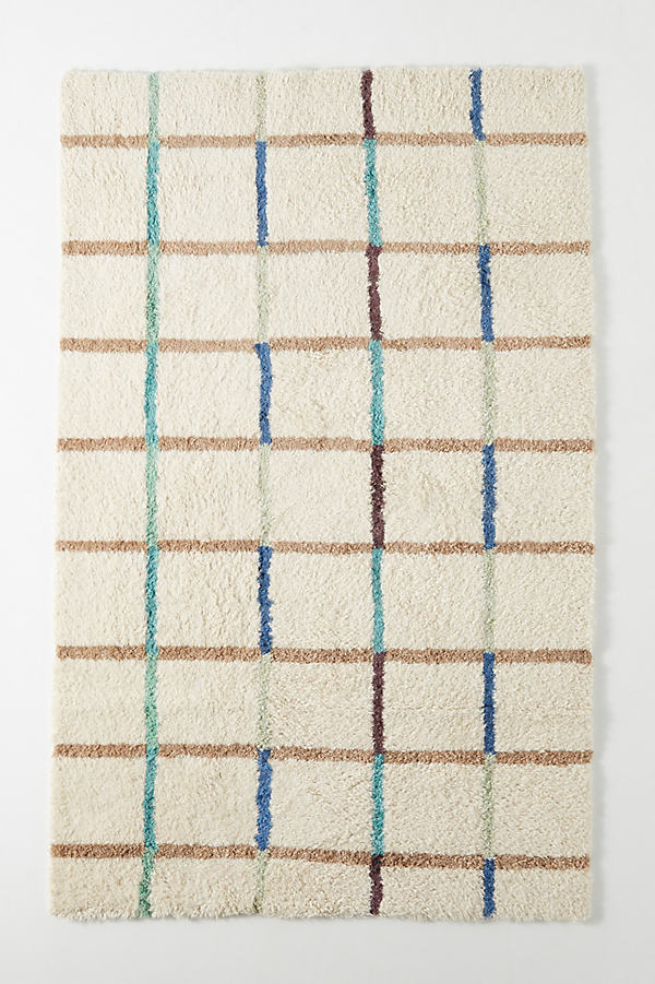 SUNO for Anthropologie Jute Grid Rug - White, Size 8 X 10