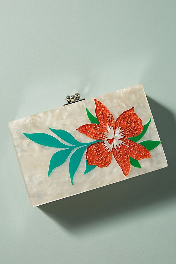Tropical Flower Lucite Clutch