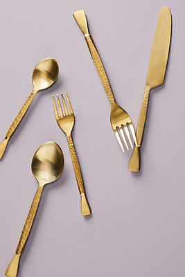 Slide View: 1: Hammered Golden Flatware