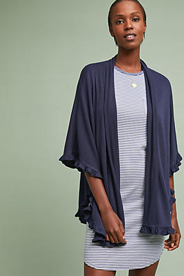 Slide View: 1: Marine Ruffled Cardigan