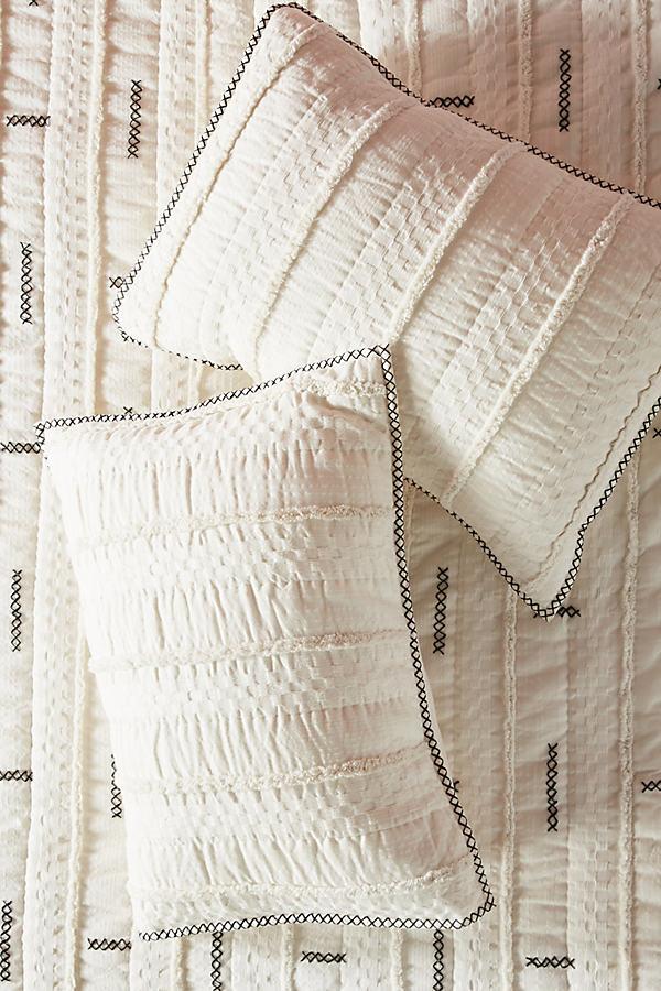 Embroidered Norah Pillowcases - White, Size Std Shams