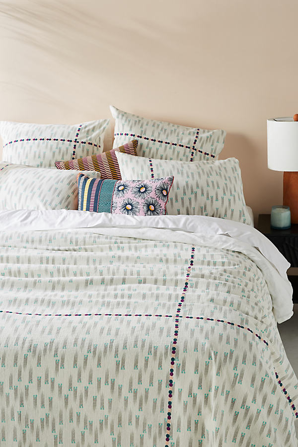 SUNO for Anthropologie Embroidered Catalan Duvet Cover - Assorted, Size Full