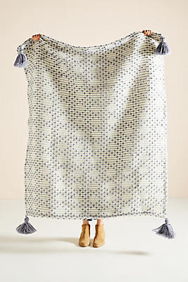 Slide View: 1: Textured Bobble Throw Blanket