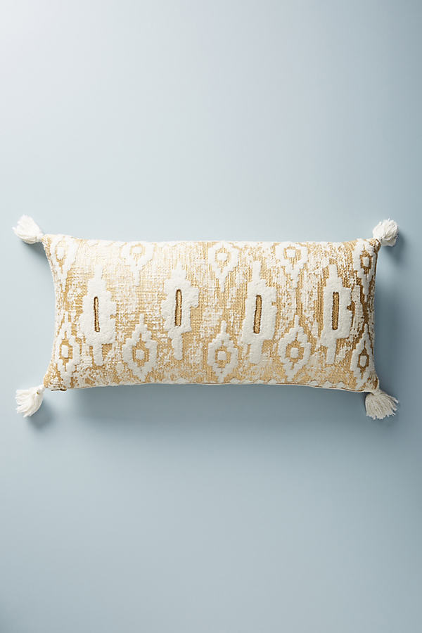 Embroidered Ryleigh Cushion - Gold, Size 12 X 27