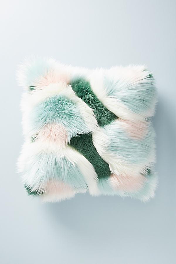Juniper Faux Fur Cushion - Blue, Size 20 In Sq