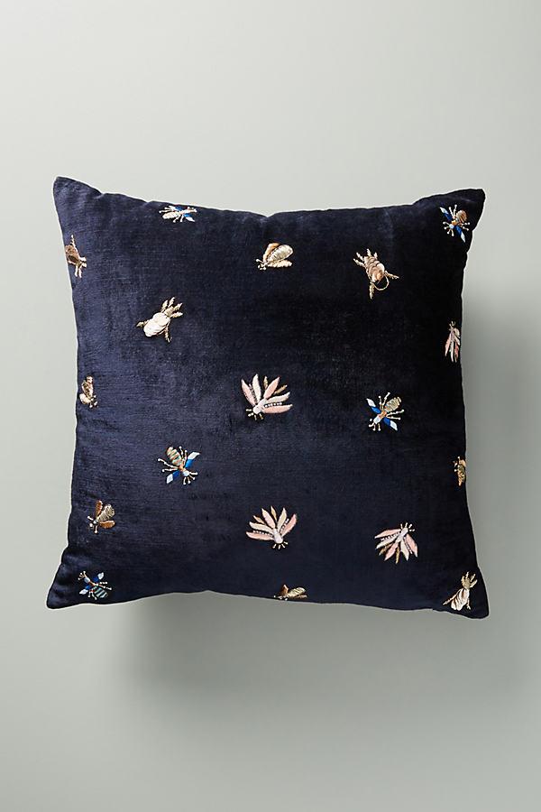 Velvet Wyatt Cushion - Blue, Size 20 In Sq