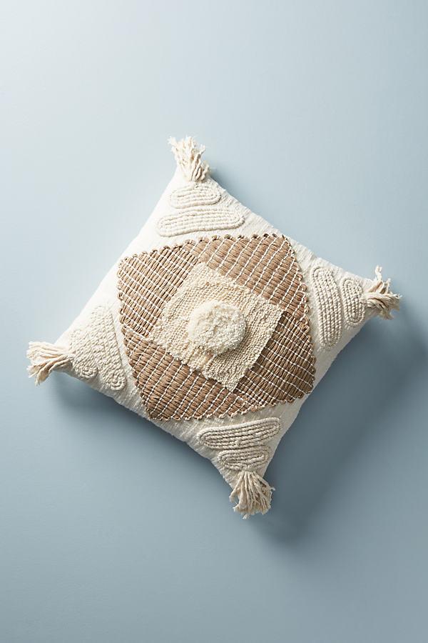 """Textured Naylei Cushion - Beige, Size 18"""" Sq"""