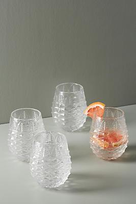 Slide View: 1: Pineapple Glasses, Set of 4