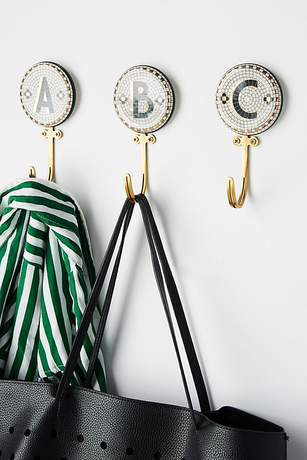 Tiled Margot Monogram Hook | Anthropologie