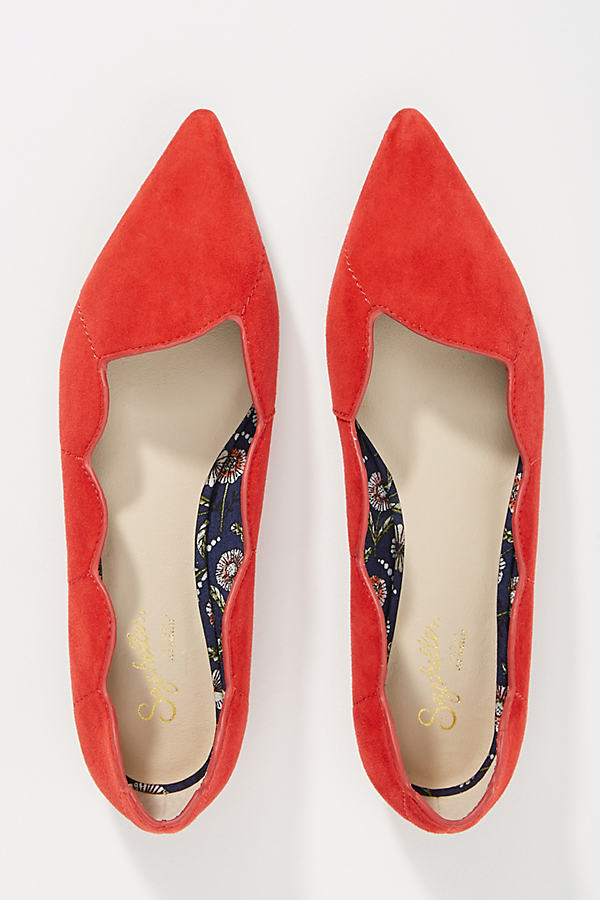 Seychelles Island Scalloped Flats - Red, Size 38 1/2