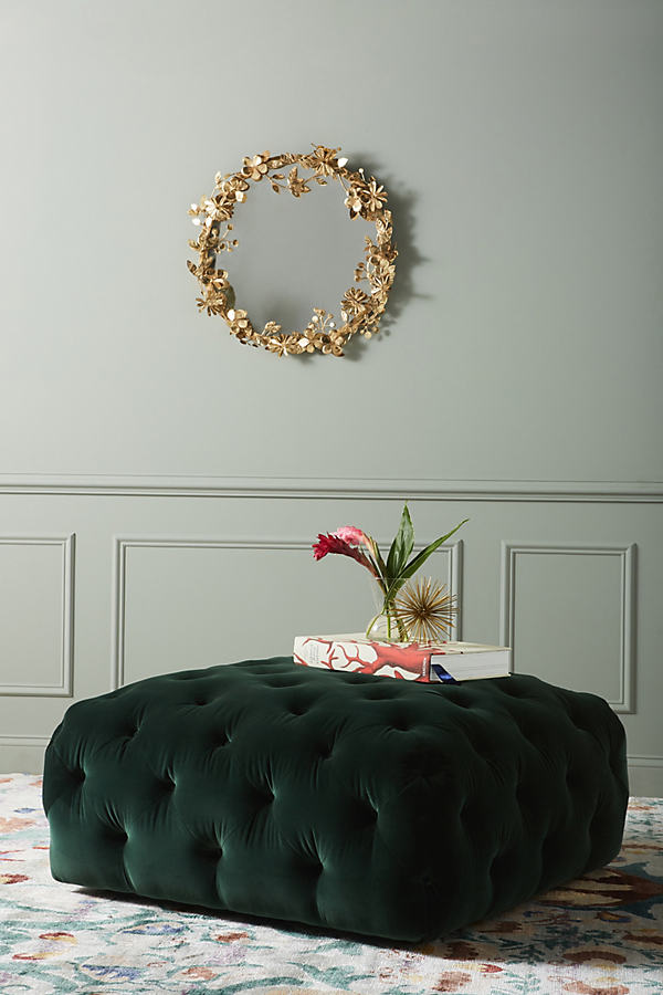 Thelina Tufted Ottoman - Green, Size S