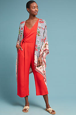 Slide View: 1: Floral Plaid Kimono
