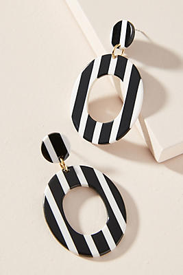 Anthropologie Striped Hoop Earrings sG6LP9