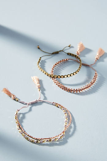 Anthropologie Pink-Tasseled Bracelet Set EiWD9s8