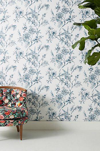 Floral wallpaper modern floral wallpaper anthropologie floral trail wallpaper mightylinksfo