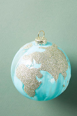 Slide View: 1: Glittering Globe Ornament