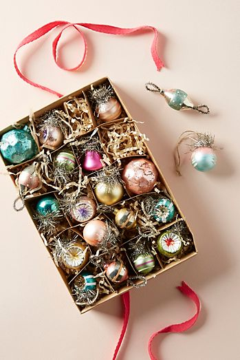 miniature retro ornaments set of 20 - Decorating Christmas Ornaments