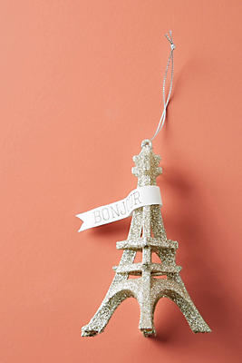 Slide View: 1: Glittering Eiffel Tower Ornament