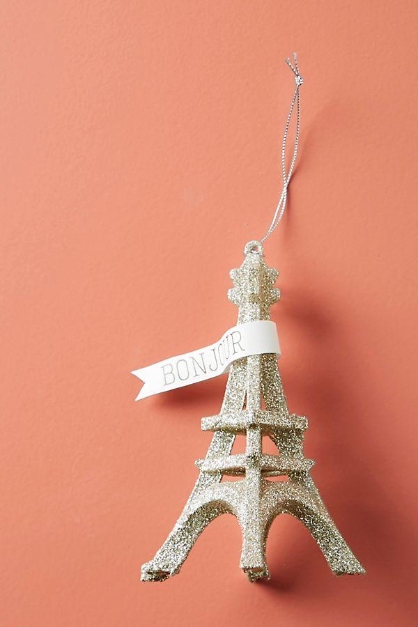 Slide View: 1: Glittering Eiffel Tower Ornament