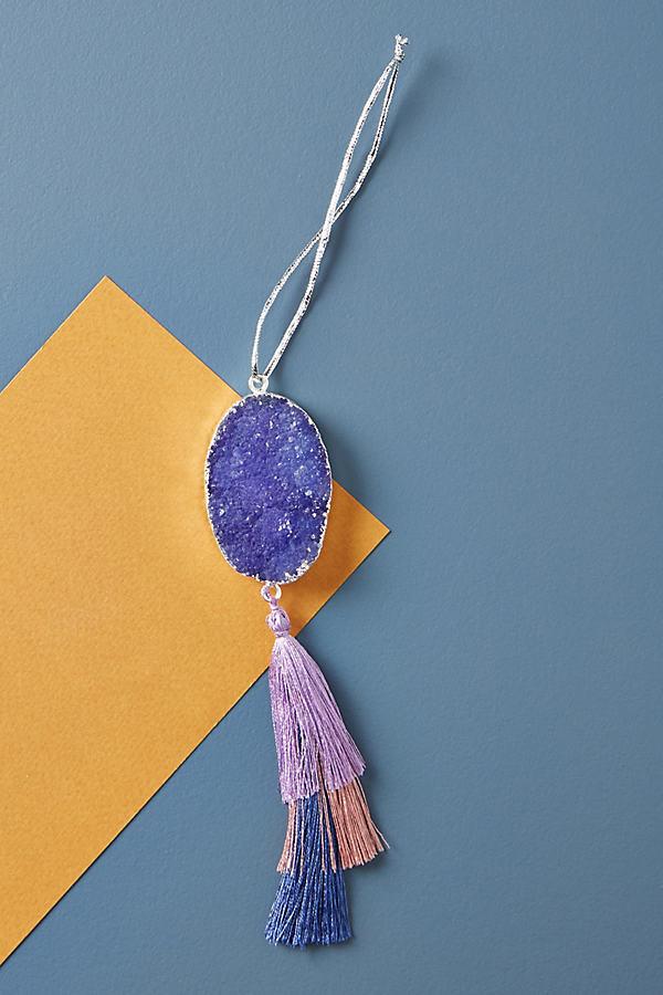 Tasselled Geode Ornament - Purple