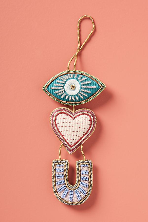 Eye Love You Beaded Ornament - Blue