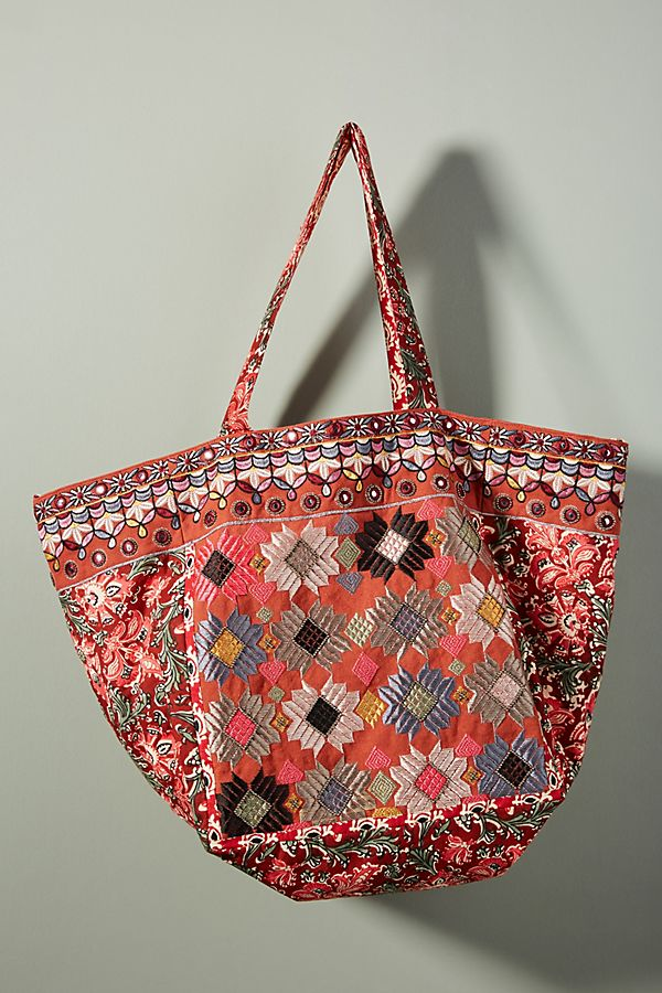 Anthropologie Adilah Embroidered Tote Bag