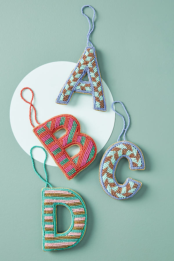 Monogram Beaded Ornament - Assorted, Size B