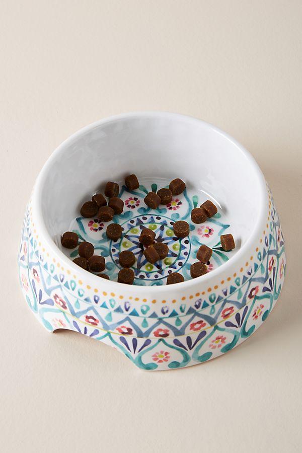 Slide View: 1: Floral Dog Food Bowl